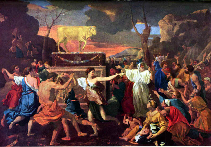 Worshiping the golden calf they made with their own hands.